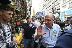 October 5, 2018 - Sao Paulo, Sao Paulo, Brazil - The candidate for the Presidency of Brazil, Geraldo Alckmin, participates in a walk with leaders in the center of Sao Paulo. October 05, 2018. (Credit Image: © Fotorua/NurPhoto/ZUMA Press)