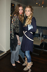 Left to right, ANOUSKA GERHAUSER daughter of Tamara Beckwith and MARY CHARTERIS at the launch of a new bar Bardo, 101-105 Walton Street, London SW3 on 29th November 2005.<br />