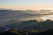 Headwaters of the Napa River above Napa Valley and the Mayacamas mountains, from the slopes of Mt. St. Helena, Robert Louis Stevenson State Park, Calistoga, California. The view is looking south toward San Francisco across Napa, Sonoma, and Marin counties.