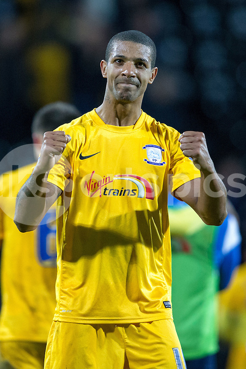 Preston North End's Jermaine Beckford at full time during the Sky Bet League 1 match between Notts County and Preston North End at Meadow Lane, Nottingham, England on 21 April 2015. Photo by James Williamson.