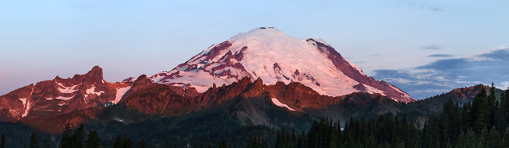 Alpenglow on Mount Rainier at Sunrise from Tipsoo Lake in Mount Rainier National Park, Washington State, USA