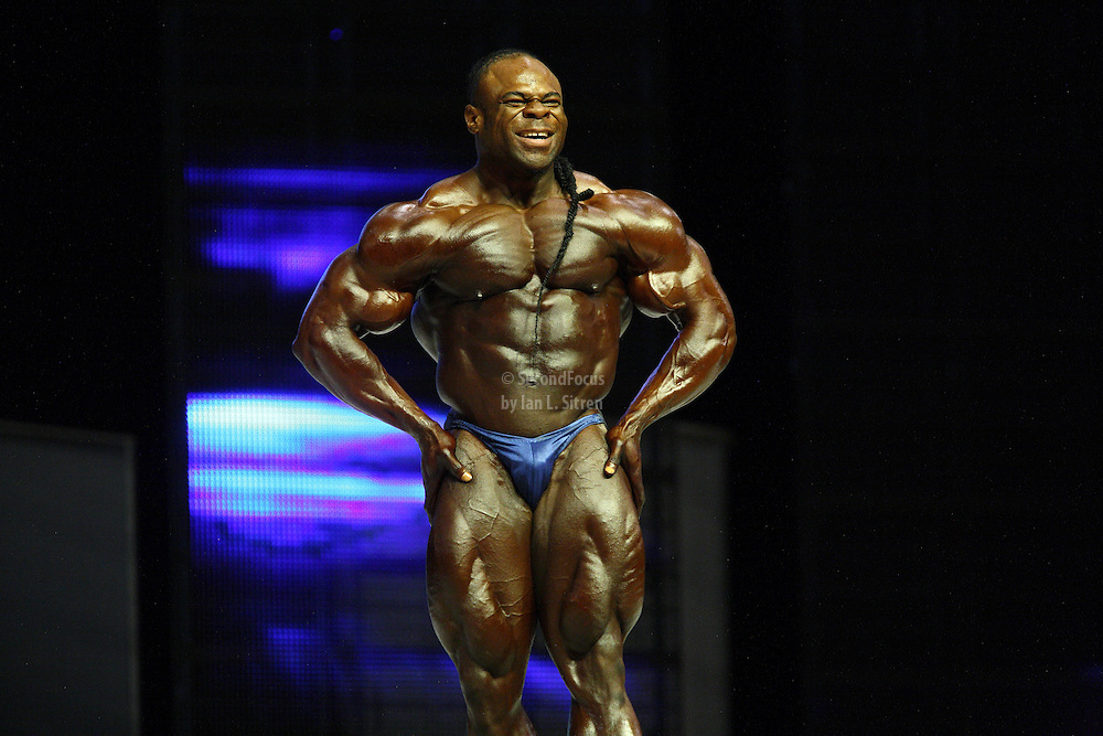 Kai Greene  on stage at the finals for the 2009 Mr. Olympia competition in Las Vegas.
