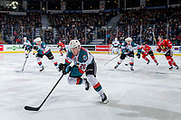 KELOWNA, CANADA - MARCH 2:  Conner Bruggen-Cate #20 of the Kelowna Rockets skates against the Portland Winterhawks on March 2, 2019 at Prospera Place in Kelowna, British Columbia, Canada.  (Photo by Marissa Baecker/Shoot the Breeze)