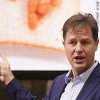 Lib Dem Nick Clegg unviel a hard-hitting poster attacking Theresa May