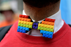 Micheal Assetto, of Ardmore, PA, dons a home-made rainbow Lego tie as he participates with the Target delegation, during the 30th Philly Pride Parade, on June 10, 2018, in Philadelphia, PA.