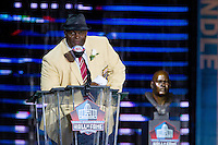 07 August 2010: Former New Orleans Saints linebacker  Rickey Jackson speaks during his Hall of Fame induction at the Pro Football Hall of Fame in Canton, Ohio.