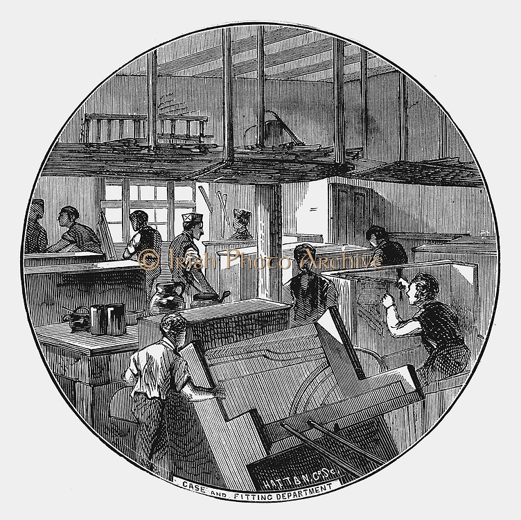 Case and fitting department, Chappell & Company's piano works, Belmont Street, Chalk Farm Road, London. Wood engraving 1870