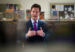 © London News Pictures. 25/02/2014 . London, UK. Deputy Prime Minister NICK CLEGG during a questions and answers session, about higher education, with students at Bishop Challoner Catholic Collegiate School in Shadwell, East London. Photo credit : Ben Cawthra/LNP