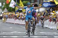 Sykkel<br /> Tour de France 2006<br /> Foto: Dppi/Digitalsport<br /> NORWAY ONLY<br />                     <br /> STAGE 14 - MONTELIMAR > GAP - PIERRICK FEDRIGO (FRA) / BOUYGUES TELECOM / WINNER - SALVATORE COMMESSO (ITA) / LAMPRE / 2ND