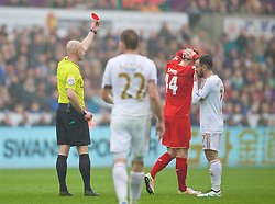 SWANSEA, WALES - Sunday, May 1, 2016: Liverpool's Brad Smith is shown a second yellow and the a red card and sent off by referee Roger East during the Premier League match against Swansea City at the Liberty Stadium. (Pic by David Rawcliffe/Propaganda)