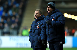 Coventry City manager Mark Robins (left) and Assistant Manager Adi Viveash watch the action from the touchline
