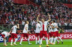 11.10.2014, National Stadium, Warsaw, POL, UEFA Euro Qualifikation, Polen vs Deutschland, Gruppe D, im Bild Polska radosc po gol bramka Arkadiusz Milik poland #7 Lukasz Piszczek poland #20 // Poland joy after goal celebrates after scoring goal Arkadiusz Milik poland #7 Lukasz Piszczek poland #20 // during the UEFA EURO 2016 Qualifier group D match between Poland and Germany at the National Stadium in Warsaw, Poland on 2014/10/11. EXPA Pictures © 2014, PhotoCredit: EXPA/ Newspix/ Sebastian Borowski<br /> <br /> *****ATTENTION - for AUT, SLO, CRO, SRB, BIH, MAZ, TUR, SUI, SWE only*****
