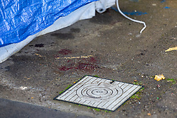 Blood is seen on the ground next to a police tent that covers the spot where a woman in her 20s was found injured outside the Brookbank Tower in Enfield, North London, and declared dead at the scene. According to a local resident the woman had fallen from a top floor flat in the tower black. A man was arrested nearby on suspicion of murder. . London, April 08 2019.