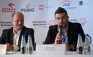 (L) Boguslaw Galazka - Director of Special Olympics Poland & (R) Michal Zewlakow - former soccer player and Special Olympics Abassador during press conference one day before the 2013 Special Olympics European Unified Football Tournament at Novotel Hotel in Warsaw, Poland.<br /> <br /> Poland, Warsaw, June 05, 2012<br /> <br /> Picture also available in RAW (NEF) or TIFF format on special request.<br /> <br /> For editorial use only. Any commercial or promotional use requires permission.<br /> <br /> Mandatory credit:<br /> Photo by © Adam Nurkiewicz / Mediasport