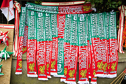 DUBLIN, REPUBLIC OF IRELAND - Wednesday, May 14, 2014: Half and half Liverpool and Shamrock Rovers scarves on sale before a postseason friendly match at Lansdowne Road. (Pic by David Rawcliffe/Propaganda)