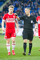 Football - 2017 / 2018 Sky Bet EFL Championship - Cardiff City vs. Middlesbrough<br /> <br /> referee Bond speaks to Grant Leadbitter of Middlesbrough, at Cardiff City Stadium.<br /> <br /> COLORSPORT/WINSTON BYNORTH