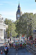 Peloton along Whitehall with Big Ben in the background during the Tour of Britain 2016 stage 8 , London, United Kingdom on 11 September 2016. Photo by Martin Cole.