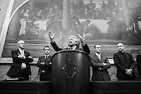 ROME, ITALY - 19 February 2014: Comedian Beppe Grillo, leader of the anti-establishment 5 Stars Movement, holds a press conference after consultations with Italian Prime Minister-designate Matteo Renzi at the Parliament in Rome, Italy, on on February 19th 2014.