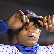 NEW YORK, NEW YORK - October 5: Yoenis Cespedes #52 of the New York Mets in the dugout during the San Francisco Giants Vs New York Mets National League Wild Card game at Citi Field on October 5, 2016 in New York City. (Photo by Tim Clayton/Corbis via Getty Images)