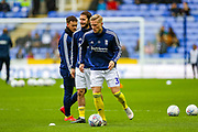 Birmingham City defender Kristian Pedersen (3) warms up during the EFL Sky Bet Championship match between Reading and Birmingham City at the Madejski Stadium, Reading, England on 7 December 2019.