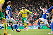 Norwich City midfielder James Maddison (23) shapes up for a shot during the EFL Sky Bet Championship match between Norwich City and Ipswich Town at Carrow Road, Norwich, England on 18 February 2018. Picture by Nigel Cole.