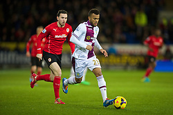 CARDIFF, WALES - Tuesday, February 11, 2014: Aston Villa's Ryan Bertrand in action against Cardiff City during the Premiership match at the Cardiff City Stadium. (Pic by David Rawcliffe/Propaganda)