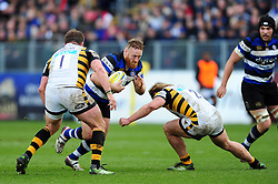 Ross Batty of Bath Rugby takes on the Wasps defence - Mandatory byline: Patrick Khachfe/JMP - 07966 386802 - 04/03/2017 - RUGBY UNION - The Recreation Ground - Bath, England - Bath Rugby v Wasps - Aviva Premiership.