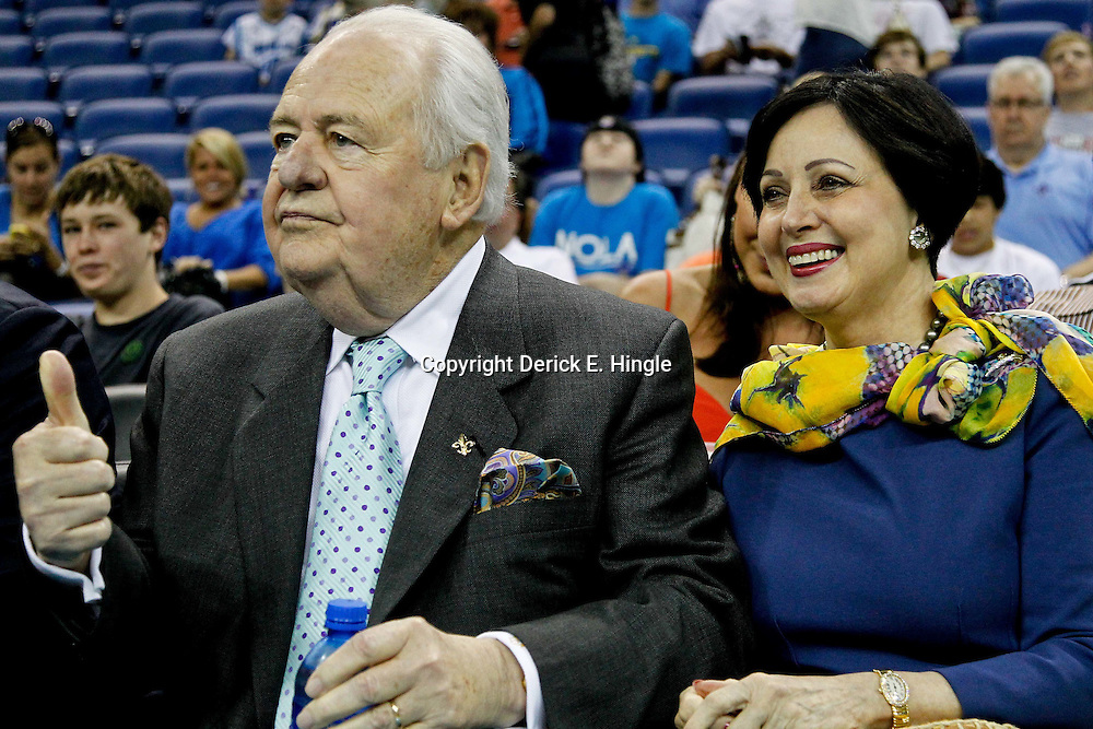 April 15, 2012; New Orleans, LA, USA; New Orleans Hornets and Saints owner Tom Benson and his wife Gayle before the start of a game against the Memphis Grizzlies at the New Orleans Arena.   Mandatory Credit: Derick E. Hingle-US PRESSWIRE