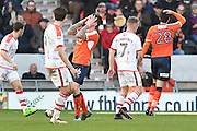 Glen Rea (16) Luton Town FC defender missed close range shot at goal during the EFL Sky Bet League 2 match between Doncaster Rovers and Luton Town at the Keepmoat Stadium, Doncaster, England on 18 February 2017. Photo by Ian Lyall.