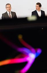 11.01.2019, Hotel Schlosspark, Mauerbach, AUT, Bundesregierung, Pressefoyer nach der Regierungsklausur 2019, im Bild Finanzminister Hartwig Löger (ÖVP) und Bundeskanzler Sebastian Kurz (ÖVP) // Austrian Minister for Finance Hartwig Loeger and Austrian Federal Chancellor Sebastian Kurz during media briefing after convention of the Austrian government at Mauerbach in Lower Austria, Austria on 2019/01/11 EXPA Pictures © 2019, PhotoCredit: EXPA/ Michael Gruber