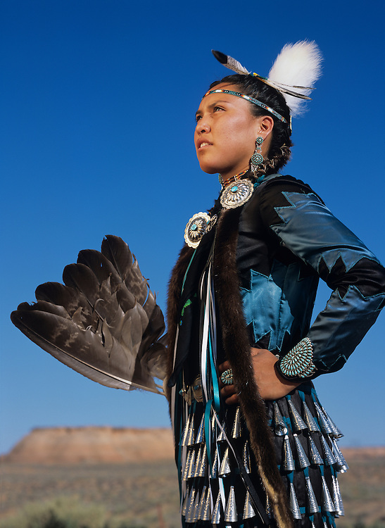 USA, Arizona, Page, Portrait of Navajo Indian dancer Dawnelle John performing jingle dance at Navajo Village Heritage Park
