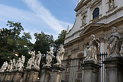 Twelve apostle statues outside the church St. Peter and St. Paul Church on Grodzka street, on 23rd September 2019, in Krakow, Malopolska, Poland.