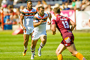 Bradford Bulls Scott Moore (34) looks to charge a kick down early on during the Kingstone Press Championship match between Batley Bulldogs and Bradford Bulls at the Fox's Biscuits Stadium, Batley, United Kingdom on 16 July 2017. Photo by Simon Davies.