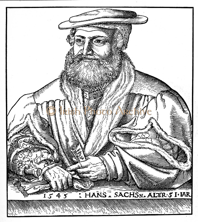Hans Sachs  (1494-1576) Mastersinger  of Nuremberg,   composer, playwright,poet and shoemaker.  One of the leading figures in 'Die Meistersinger von Nurnberg', the opera by Richard Wagner, first performed in 1868. After the aristocratic Minnesingers declined in the 13th century, the craftsmen and traders  continued their tradition