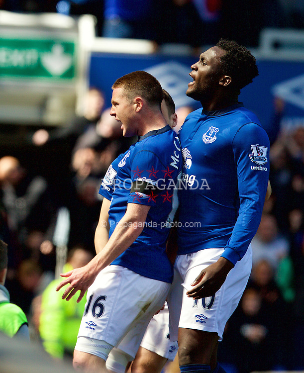 LIVERPOOL, ENGLAND - Sunday, April 26, 2015: Everton's James McCarthy celebrates scoring the first goal against Manchester United during the Premier League match at Goodison Park. (Pic by David Rawcliffe/Propaganda)