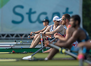 "Rio de Janeiro. BRAZIL.  GBR M1X, checks his position on the line at the  2016 Olympic Rowing Regatta. Lagoa Stadium,<br /> Copacabana,  ""Olympic Summer Games""<br /> Rodrigo de Freitas Lagoon, Lagoa.   Tuesday  09/08/2016 <br /> <br /> [Mandatory Credit; Peter SPURRIER/Intersport Images]"