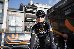 Elisa Longo-Borghini (ITA) of Wiggle Hi5 Cycling Team prepares for the Liege-Bastogne-Liege Femmes - a 135.5 km road race, between  Bastogne and Ans on April 23, 2017, in Liege, Belgium.