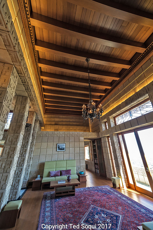 The Ennis House designed by Frank Lloyd Wright.<br /> Living room.