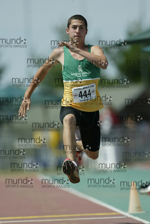 (Sherbrooke, Quebec -- 9 Aug 2009)  Josh Forsgren of Saskatchewan competes in triple jump at the 2009 Legion Youth National Track and Field Championships. Photograph copyright Sean Burges / Mundo Sport Images  2009.