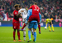 16.03.2016, Allianz Arena, Muenchen, GER, UEFA CL, FC Bayern Muenchen vs Juventus Turin, Achtelfinale, Rueckspiel, im Bild David Alaba (FC Bayern Muenchen), Mario Mandzukic (Juventus), Manuel Neuer (FC Bayern Muenchen), Joshua Kimmich (FC Bayern Muenchen) // during the UEFA Champions League Round of 16, 2nd Leg match between FC Bayern Munich and Juventus Turin at the Allianz Arena in Munich, Germany on 2016/03/16. EXPA Pictures © 2016, PhotoCredit: EXPA/ Johann Groder