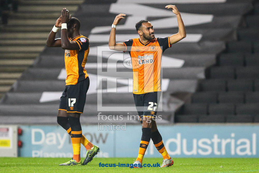 Mohamed Diame of Hull City celebrates scoring his team's second goal against Milton Keynes Dons to make it 0-2 with Ahmed Elmohamady of Hull City (right) during the Sky Bet Championship match at stadium:mk, Milton Keynes<br /> Picture by David Horn/Focus Images Ltd +44 7545 970036<br /> 31/10/2015