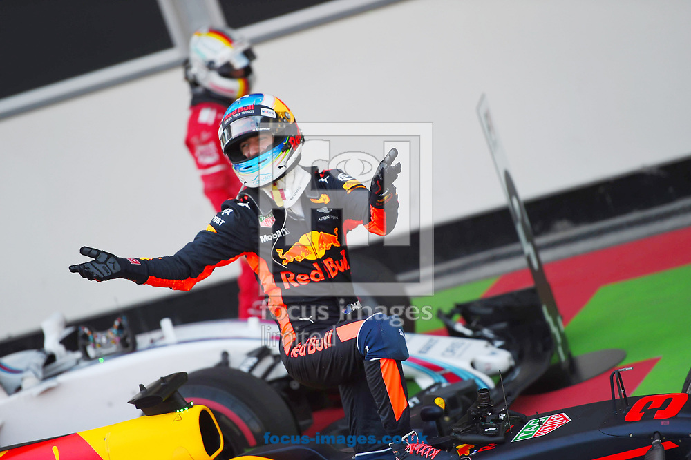 Daniel Ricciardo of Red Bull celebrates winning the Azerbaijan Formula One Grand Prix at Baku City Circuit, Baku<br /> Picture by EXPA Pictures/Focus Images Ltd 07814482222<br /> 25/06/2017<br /> *** UK & IRELAND ONLY ***<br /> <br /> EXPA-EIB-170625-0055.jpg