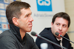 Srecko Katanec, head coach of Team Slovenia and Ales Zavrl, secretary general of NZS during press conference of Football Association of Slovenia (NZS) on January 22, 2013 in Austria Trend Hotel, Ljubljana, Slovenia. (Photo By Vid Ponikvar / Sportida.com)