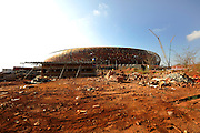 Workers on the construction site of Soccer City, the stadium venue for the 2010 South Africa FIFA World Cup in Johannesburg