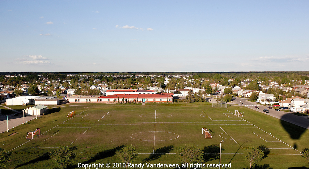 "Photo Randy Vanderveen.Grande Prairie , Alberta.10-06-06.Soccer pitches at Montrose Junior High School are vacant during a Sunday evening. Fans of the ""Beautiful Game"" will be focussed on South Africa later this month as the nation hosts the World Cup for the first time on the African contininent."