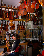 A3AAT5 Craftswoman at work Violin shop interior Woodbridge Suffolk England