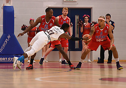 Drew Lasker of Newcastle Eagles is stopped by Greg Streete of Bristol Flyers  - Photo mandatory by-line: Joe Meredith/JMP - Mobile: 07966 386802 - 10/10/2015 - BASKETBALL - SGS Wise Arena - Bristol, England - Bristol Flyers v Newcastle Eagles - British Basketball League
