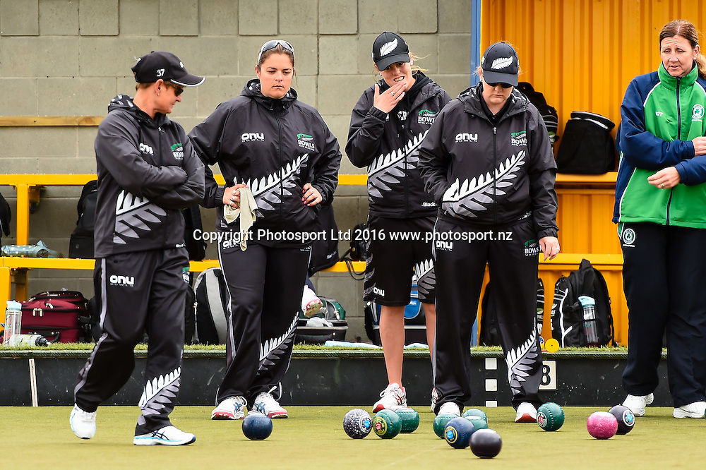 Val Smith, Angela Boyd, Katelyn Inch Kirsten and Edwards NZL womens Four, during the World Bowls Championships, Christchurch, New Zealand, 1st December 2016. © Copyright Photo: John Davidson / www.photosport.nz
