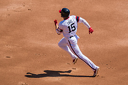 May 6, 2018 - Chicago, IL, U.S. - CHICAGO, IL - MAY 06: Chicago White Sox center fielder Adam Engel (15) runs to second base during a game between the Minnesota Twins the Chicago White Sox on May 6, 2018, at Guaranteed Rate Field, in Chicago, IL. (Photo by Patrick Gorski/Icon Sportswire) (Credit Image: © Patrick Gorski/Icon SMI via ZUMA Press)