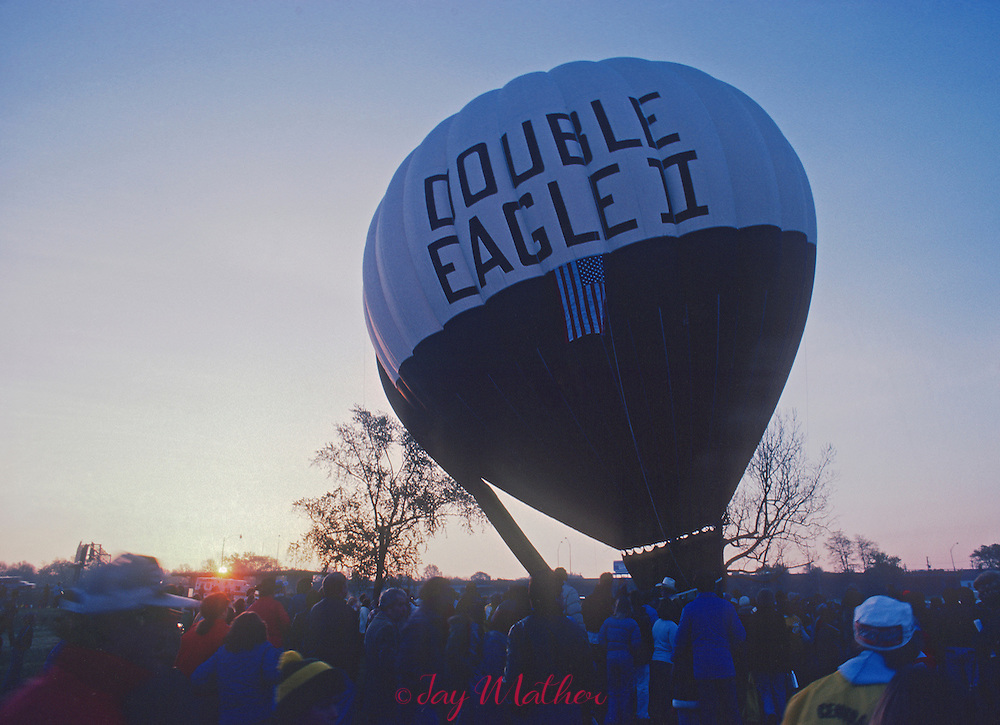 The Double Eagle II balloon, the first to cross The Atlantic Ocean in 1978 is readied for launching at 1979 Kentucky Derby  balloon race in Louisville, Kentucky.  April 28, 1979.